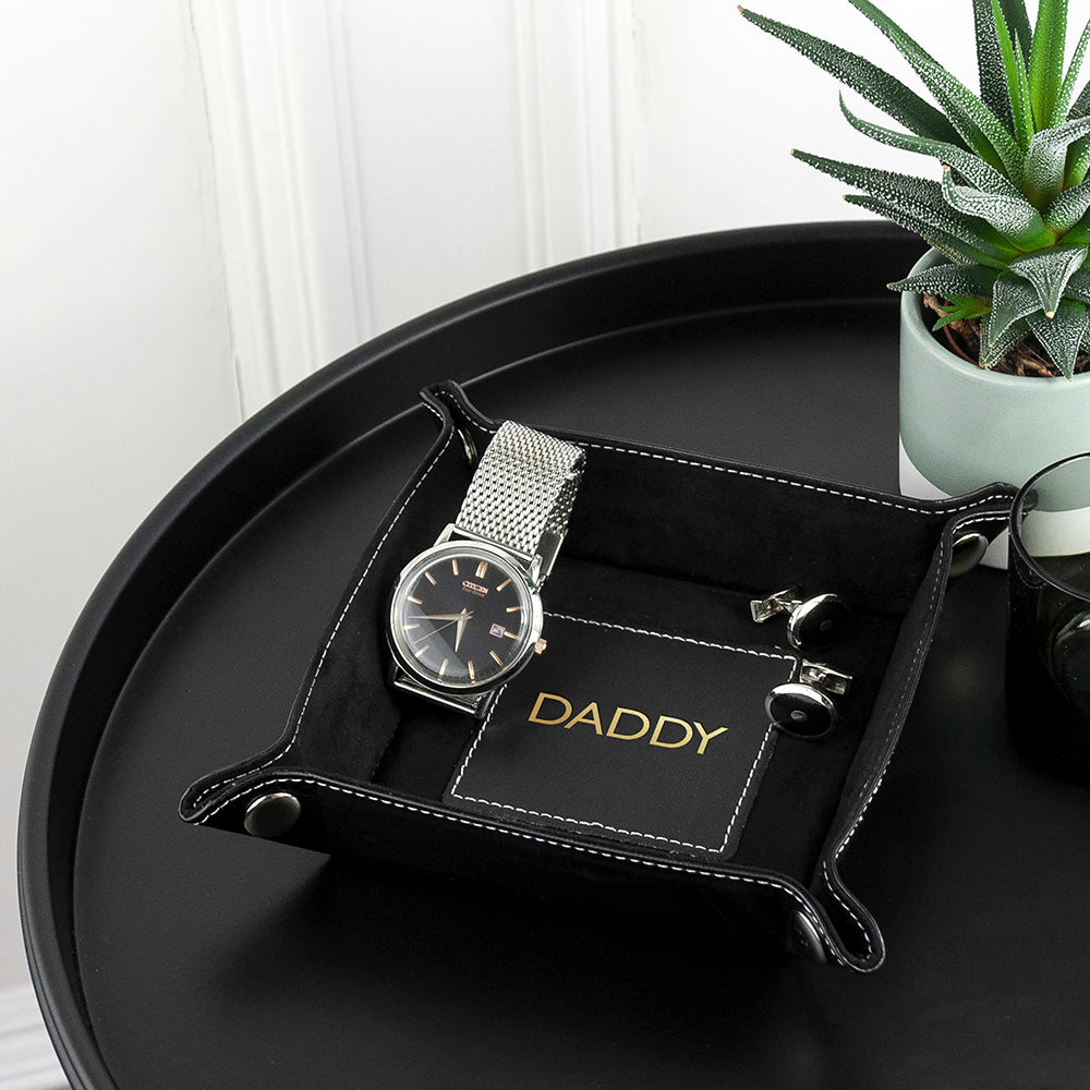 Luxury Black Personalised Valet Tray - treat-republic