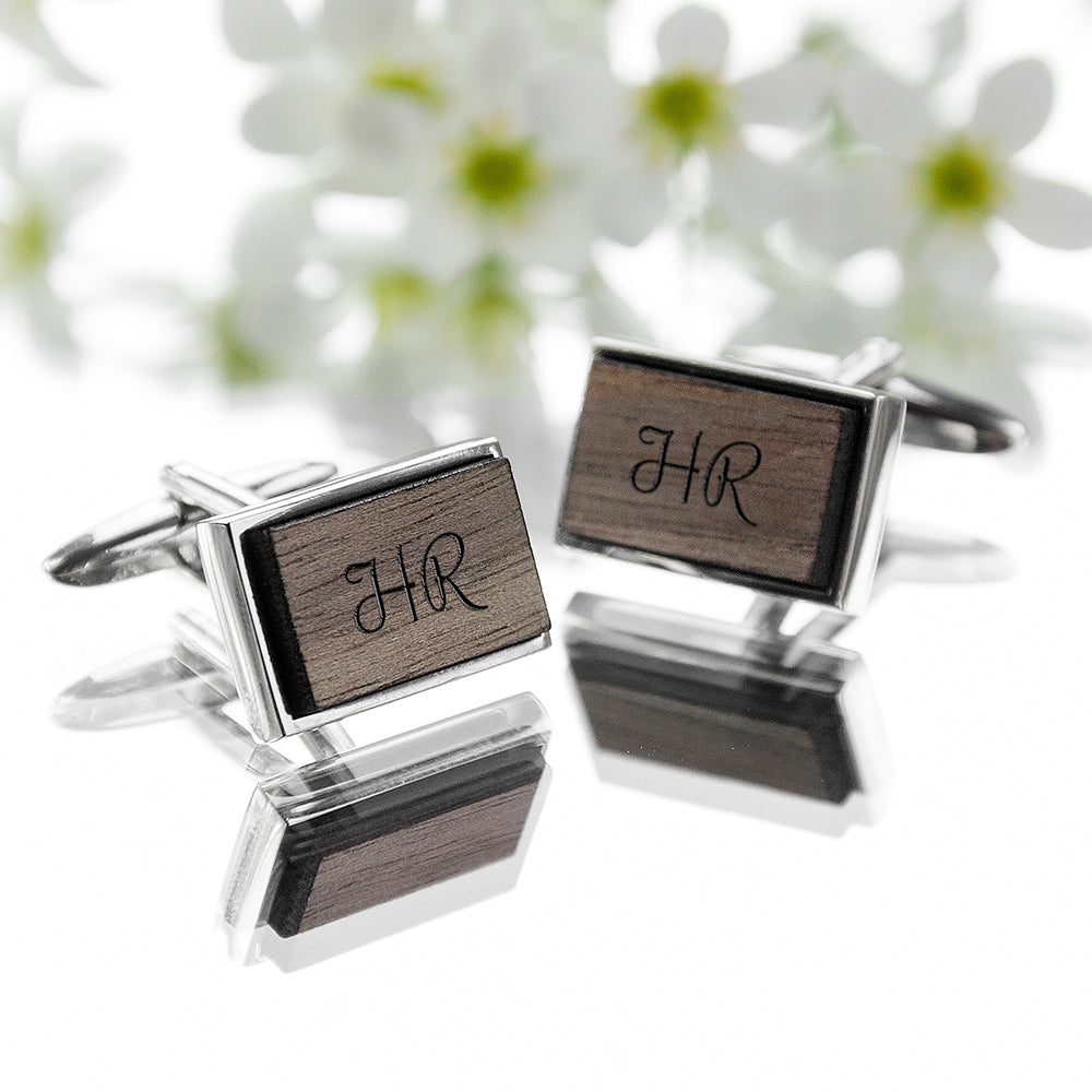 Monogram Engraved Rectangle Walnut Cufflinks