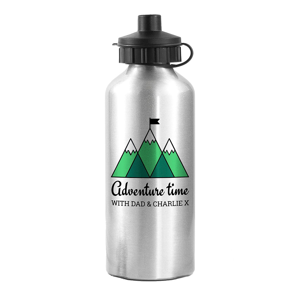 Personalised Adventure Time Silver Water Bottle - treat-republic