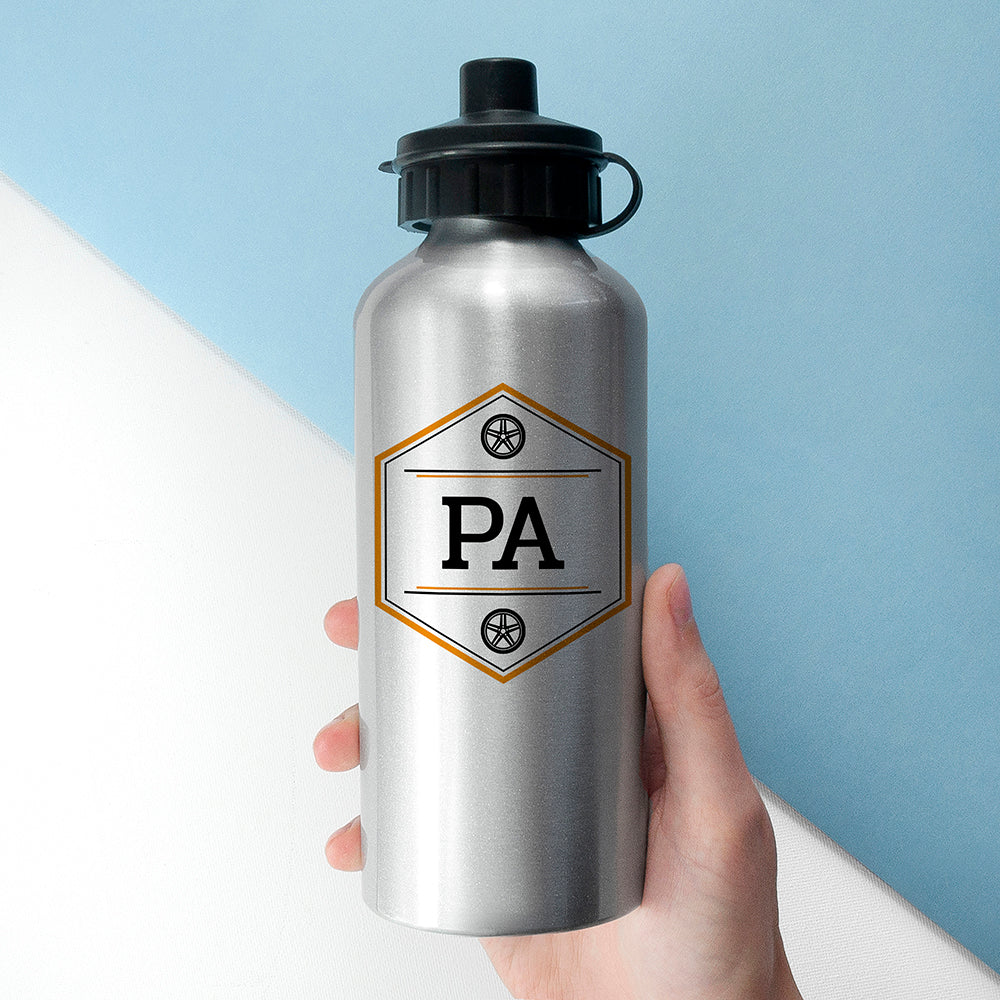 Personalised Iconic Pursuits Silver Water Bottle - treat-republic