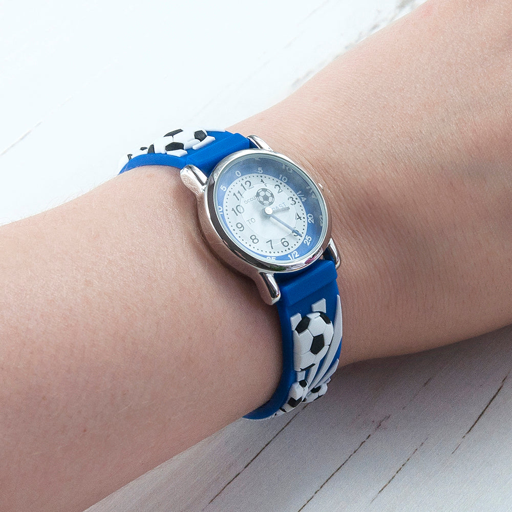 Kids Personalised Blue Football Watch