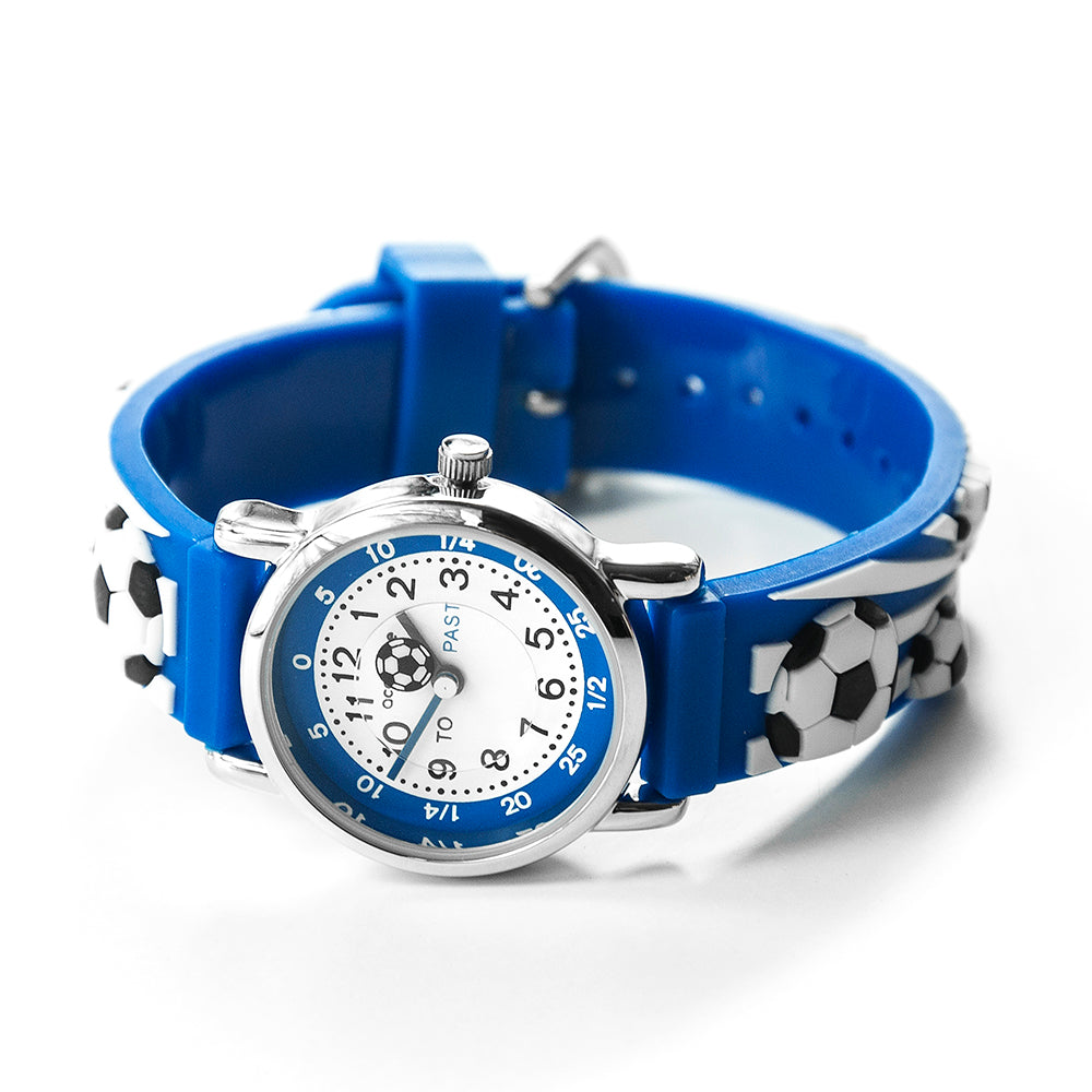Kids Personalised Blue Football Watch - treat-republic