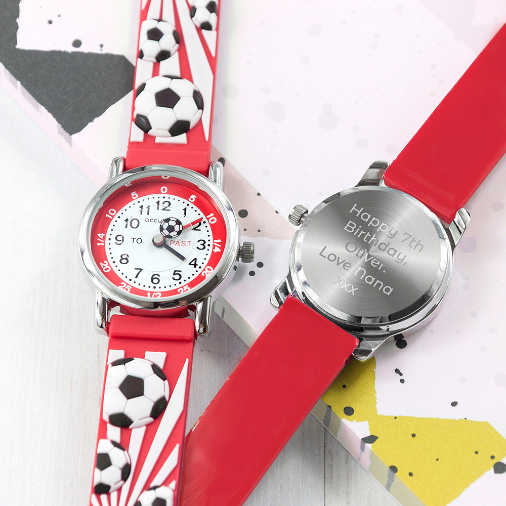 Kids Personalised Red Football Watch - treat-republic
