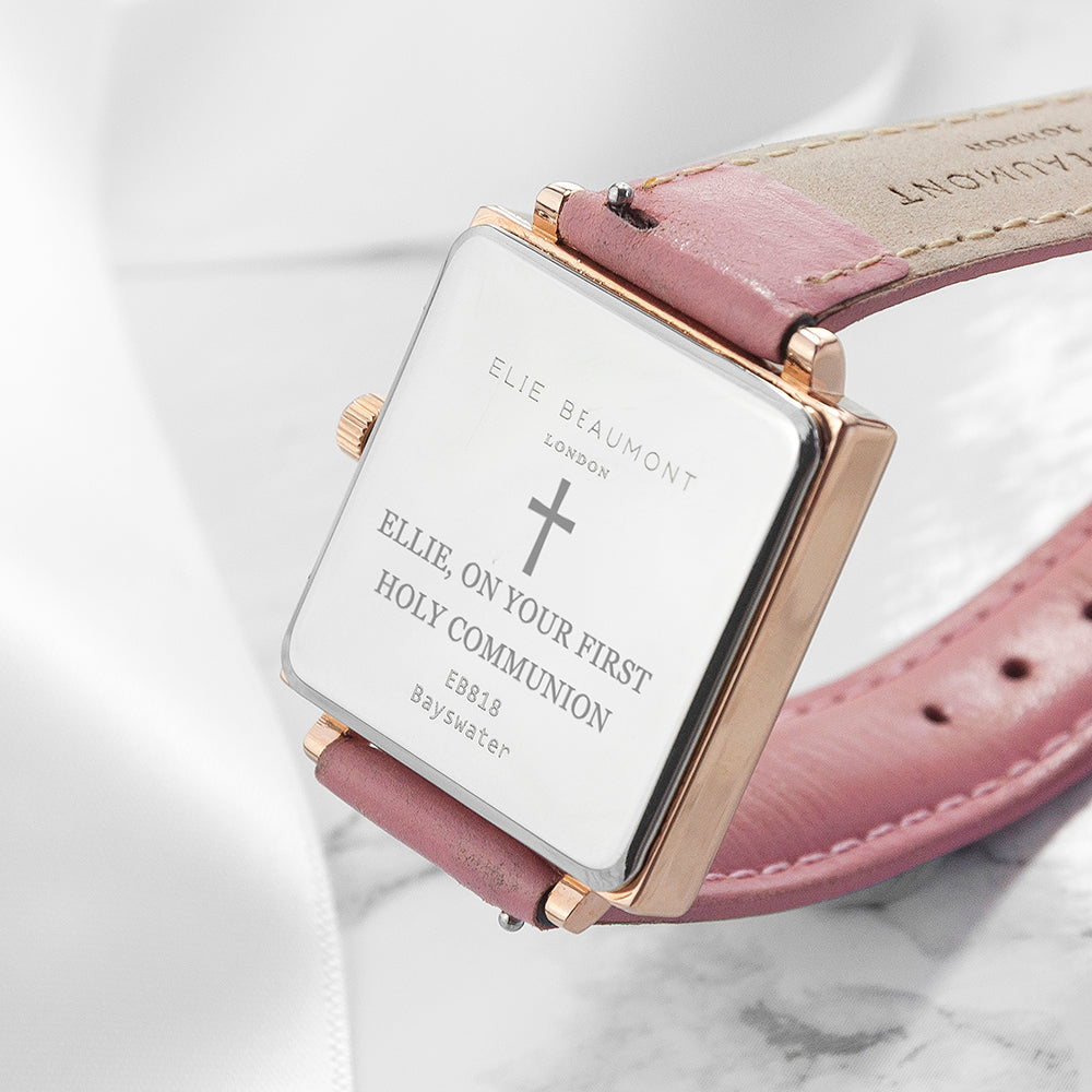 Personalised Holy Communion Pink Blush Leather Watch