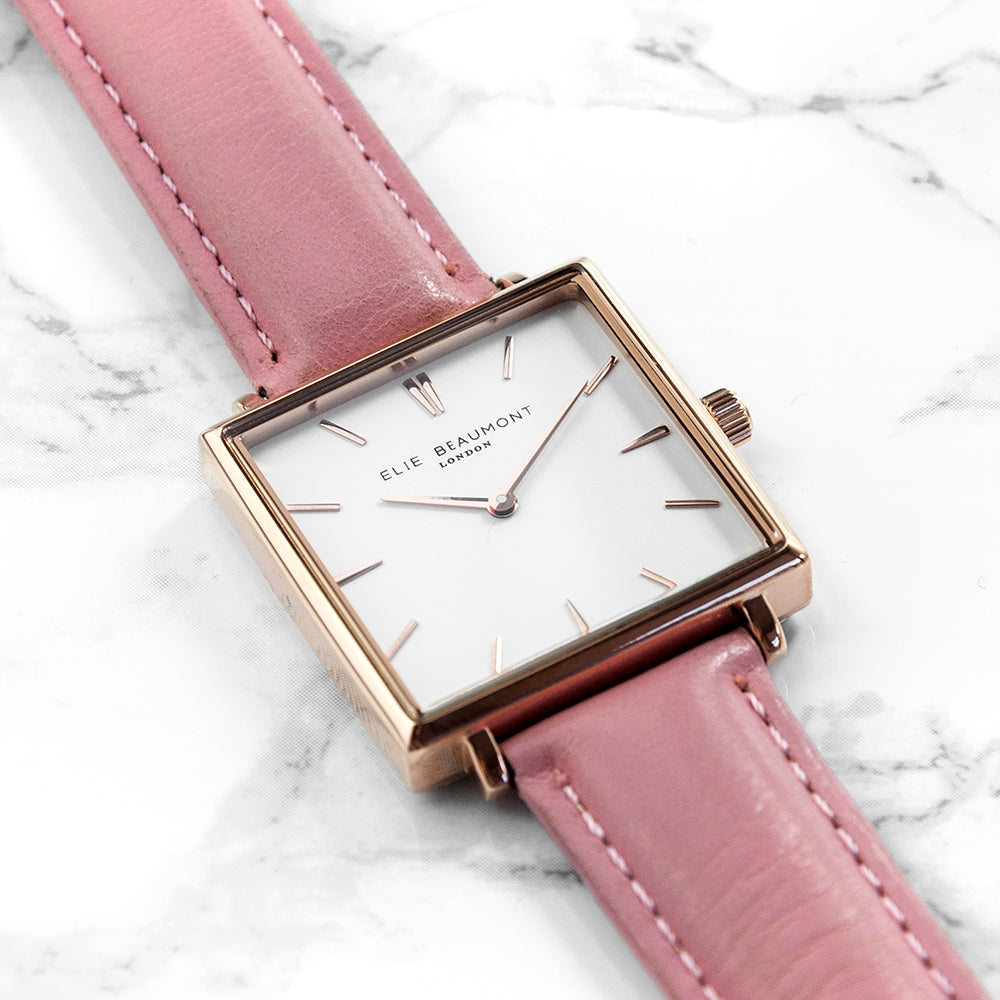 Personalised Bat Mitzvah Pink Blush Leather Watch - treat-republic