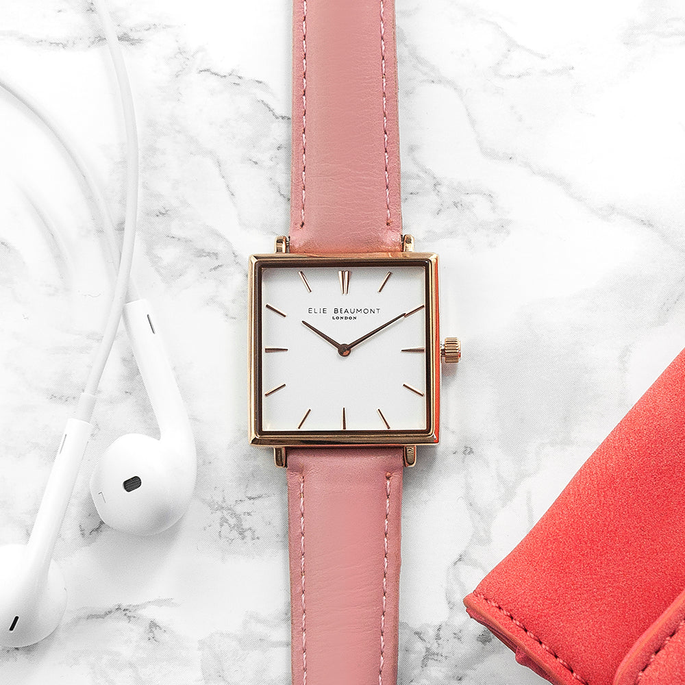Personalised Pink Blush Square Leather Watch