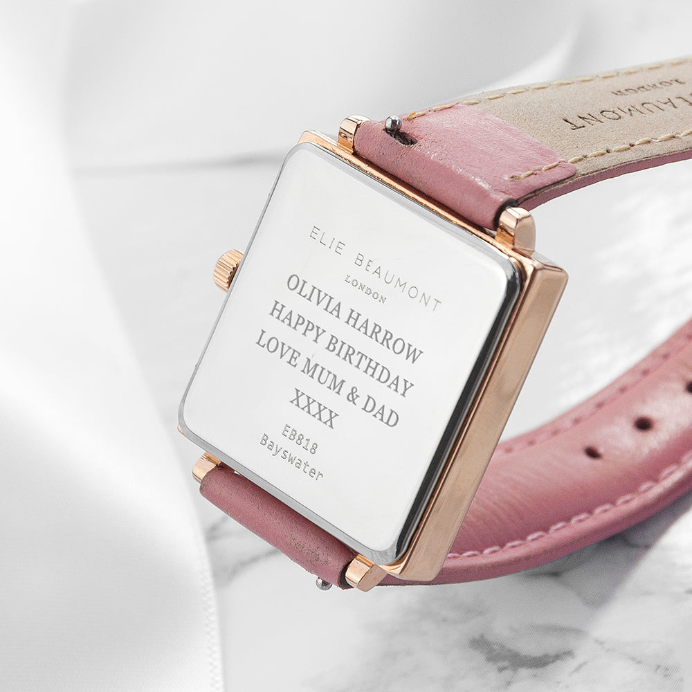 Personalised Pink Blush Square Leather Watch - treat-republic