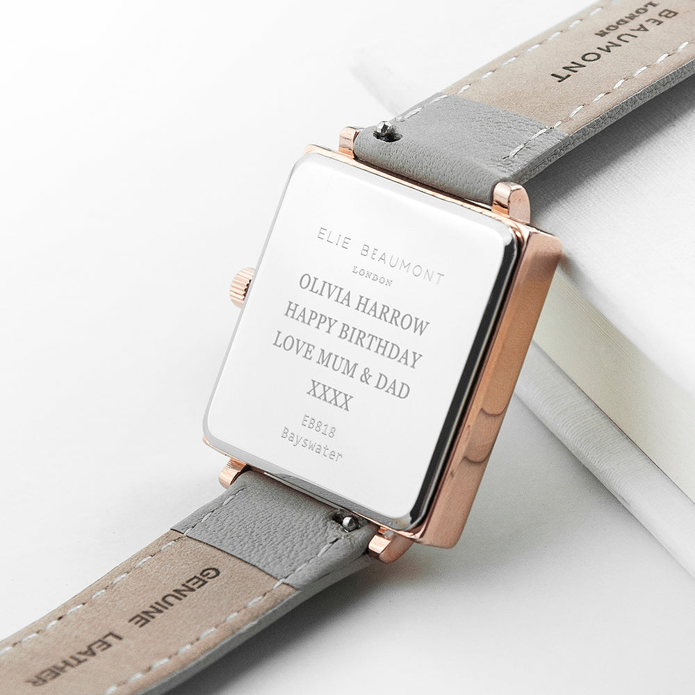 Elie Beaumont Personalised Ladies Shell Grey Square Leather Watch - treat-republic