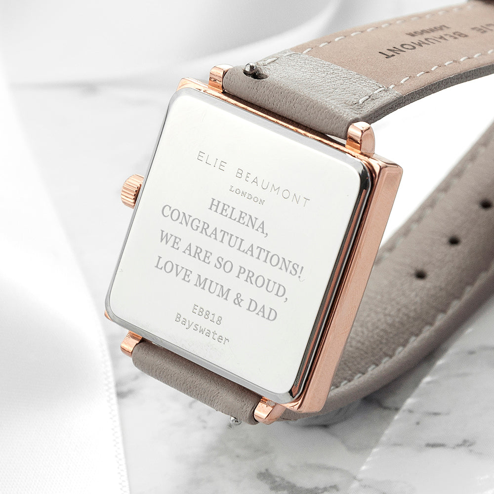 Personalised Shell Grey Square Leather Watch