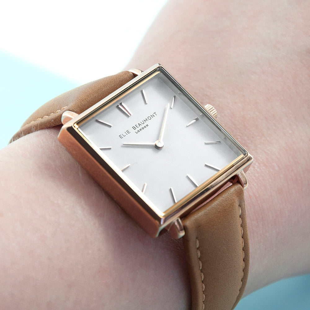 Personalised Tan Square Leather Watch