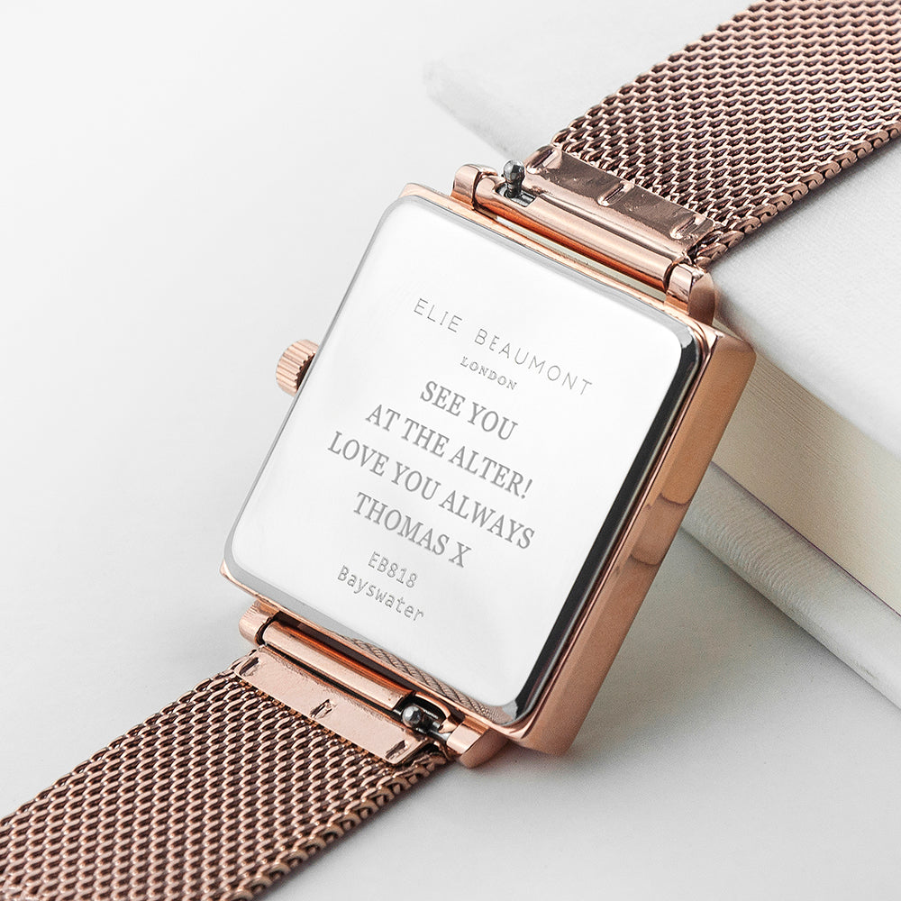 Elie Beaumont Personalised Ladies Rose Gold Metallic Square Watch - treat-republic