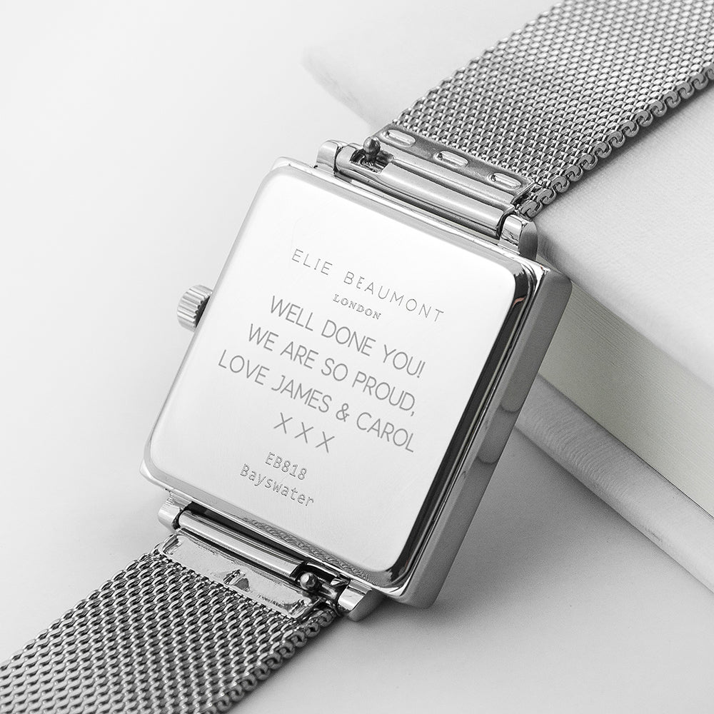 Personalised Silver Metallic Square Watch