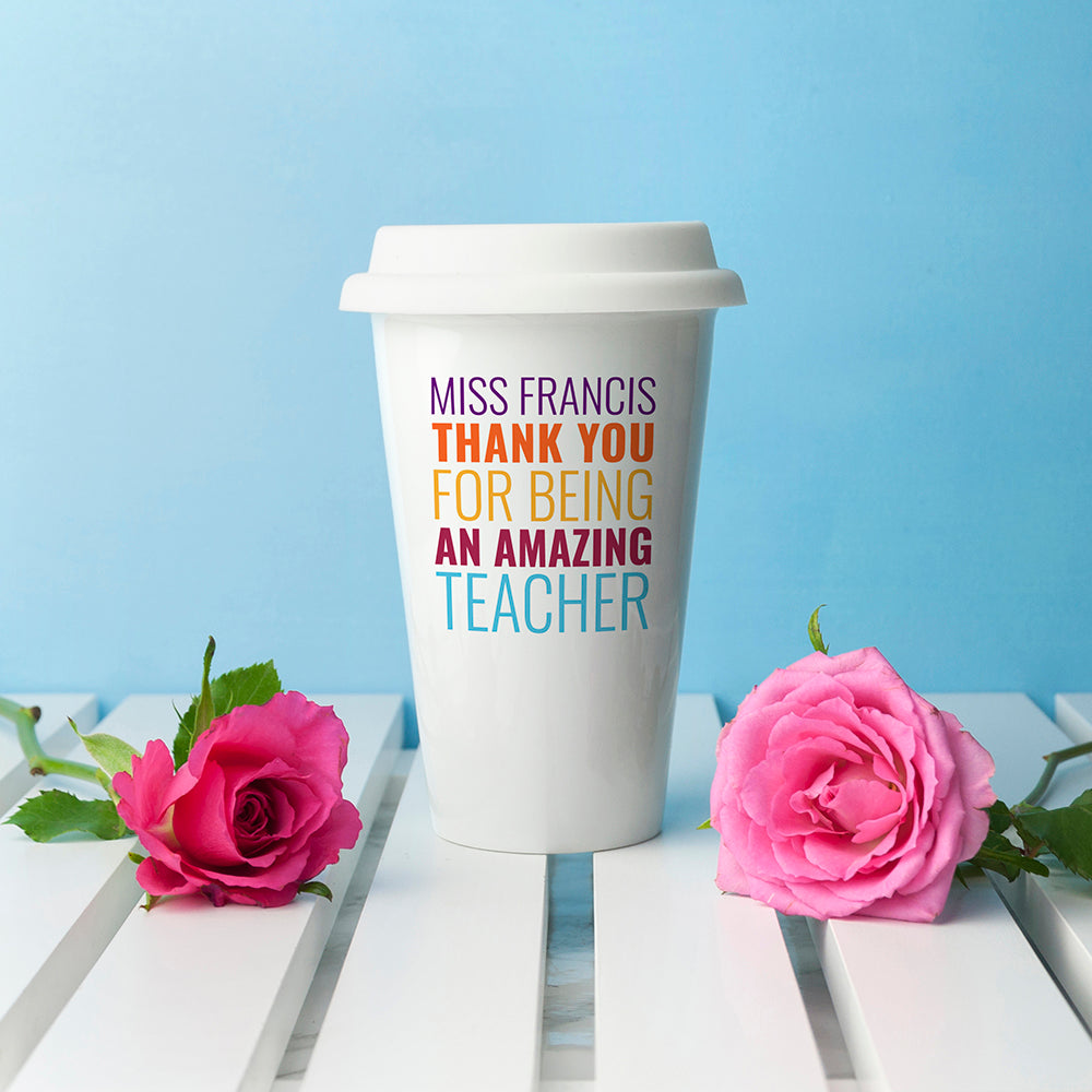 Personalised Amazing Teacher Travel Mug - treat-republic