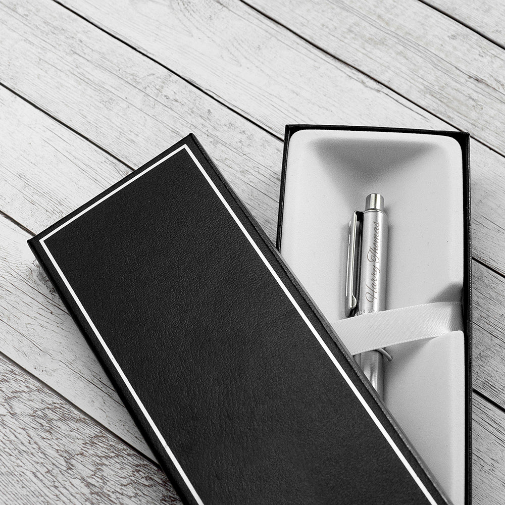 Personalised Sheaffer Brushed Chrome Pen - treat-republic