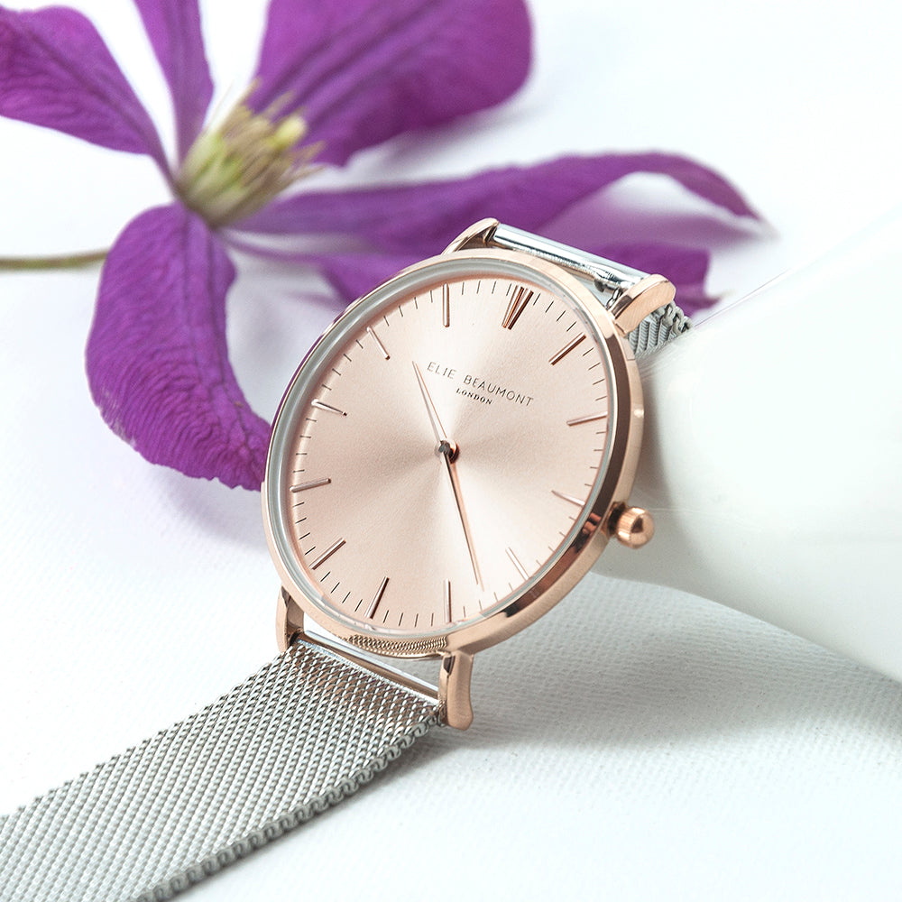 Elie Beaumont Personalised Ladies Metallic Mesh Strap Watch With Rose Gold Dial - treat-republic