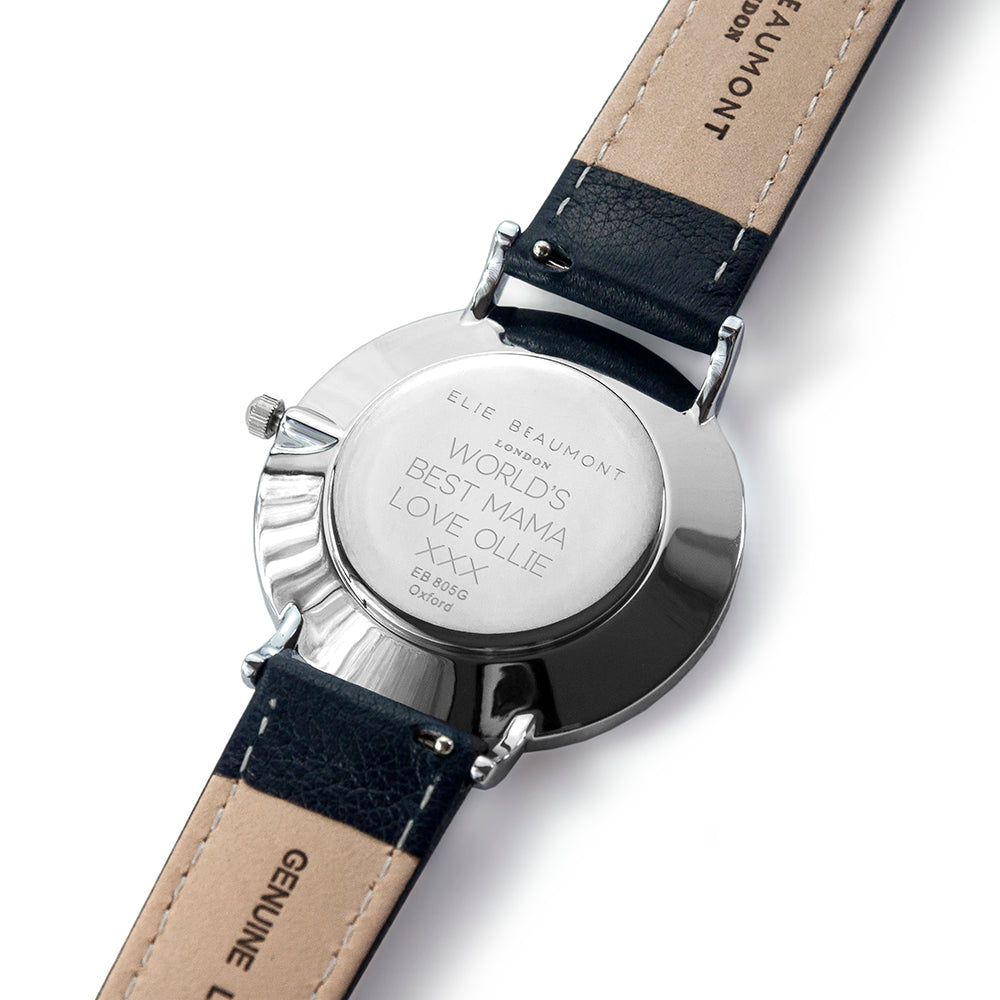 Elie Beaumont Ladies Personalised Leather Watch In Navy & Silver - treat-republic