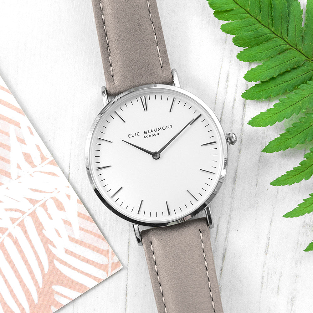 Elie Beaumont Ladies Personalised Leather Watch In Grey & Silver - treat-republic