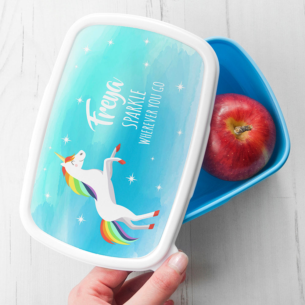 Personalised Rainbow Unicorn Lunch Box