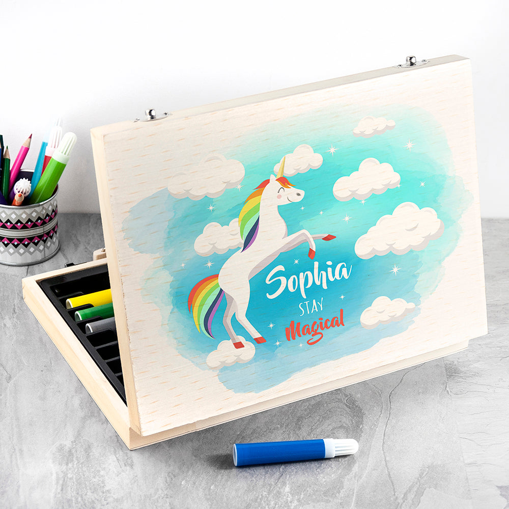 Personalised Rainbow Unicorn Colouring In Set - treat-republic