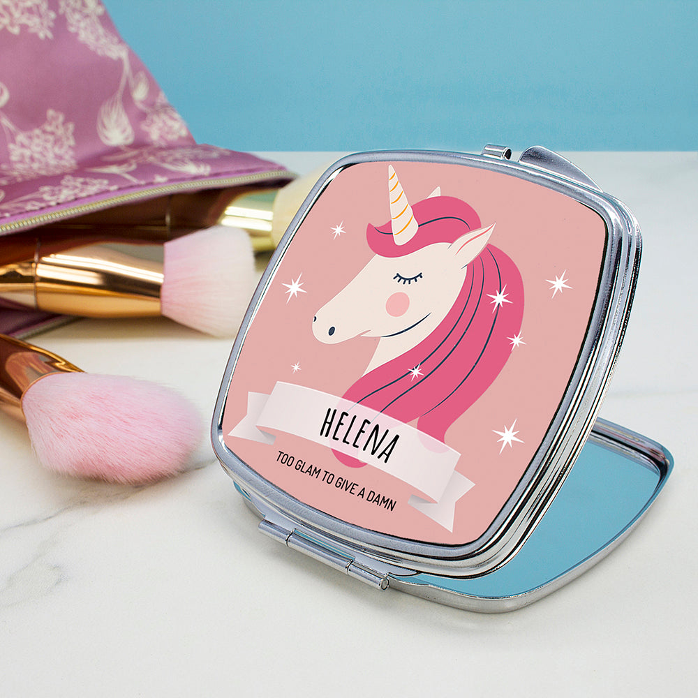 Personalised Sparkle Squad Square Pink Compact Mirror - treat-republic