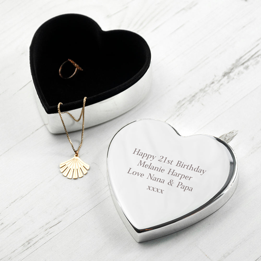 Personalised Classic Silver Heart Trinket Box - treat-republic