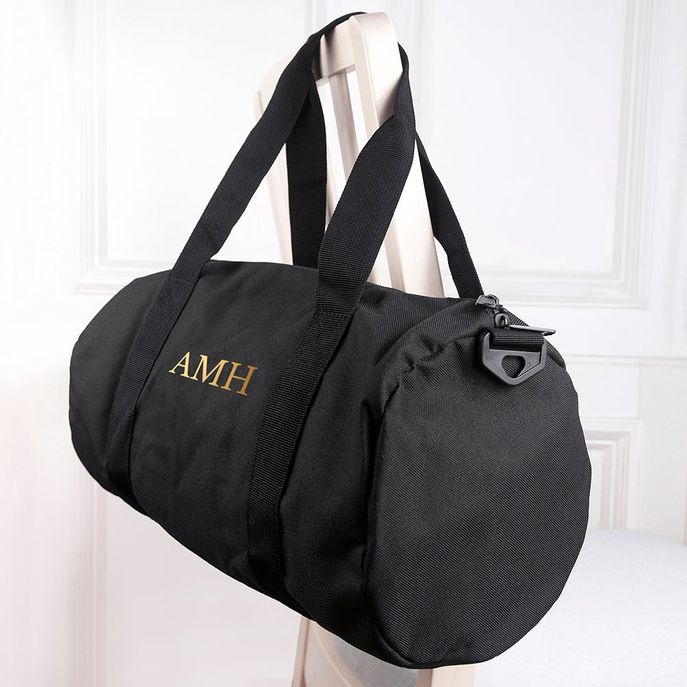 Monogrammed Barrel Gym Bag in Black - treat-republic