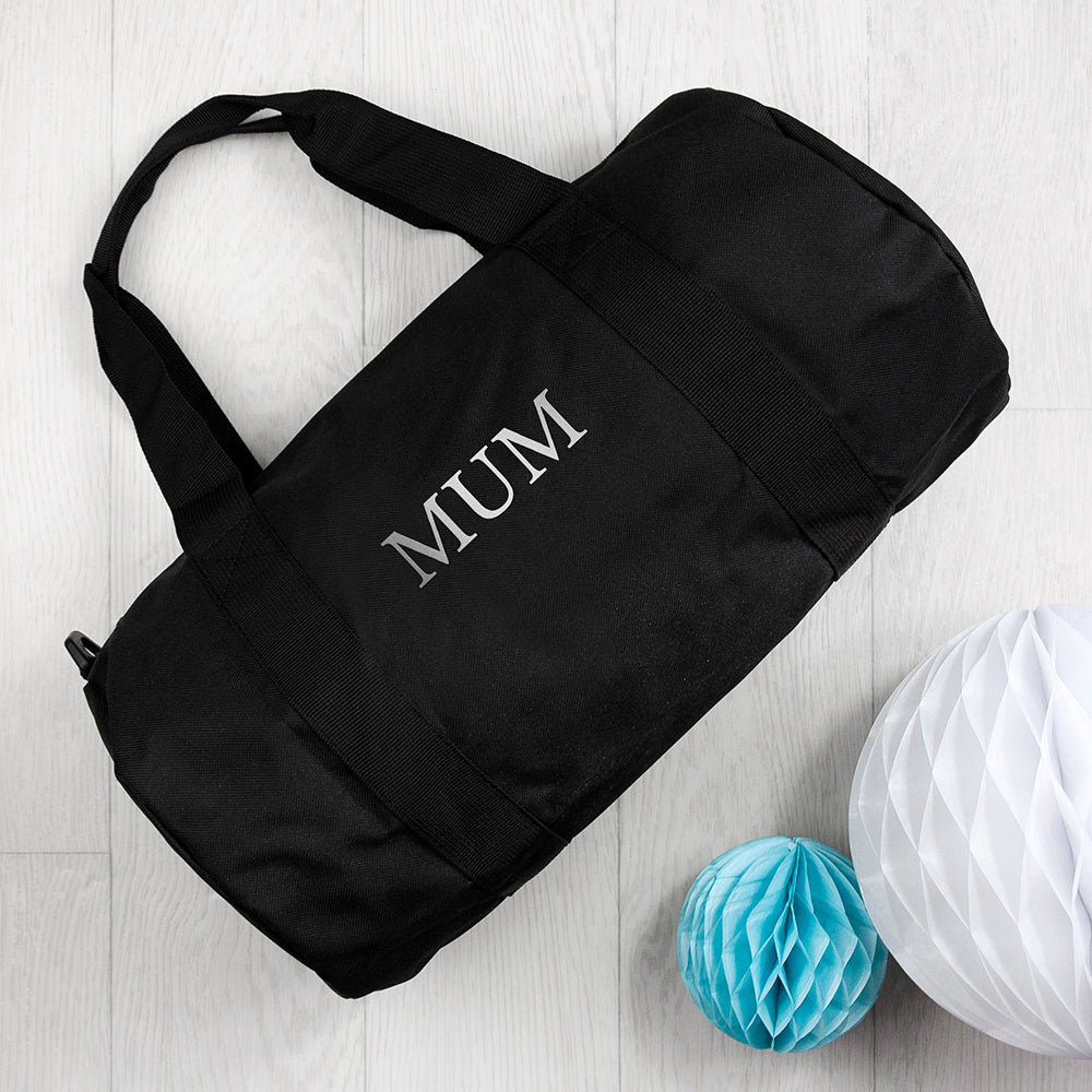 Monogrammed Barrel Gym Bag in Black