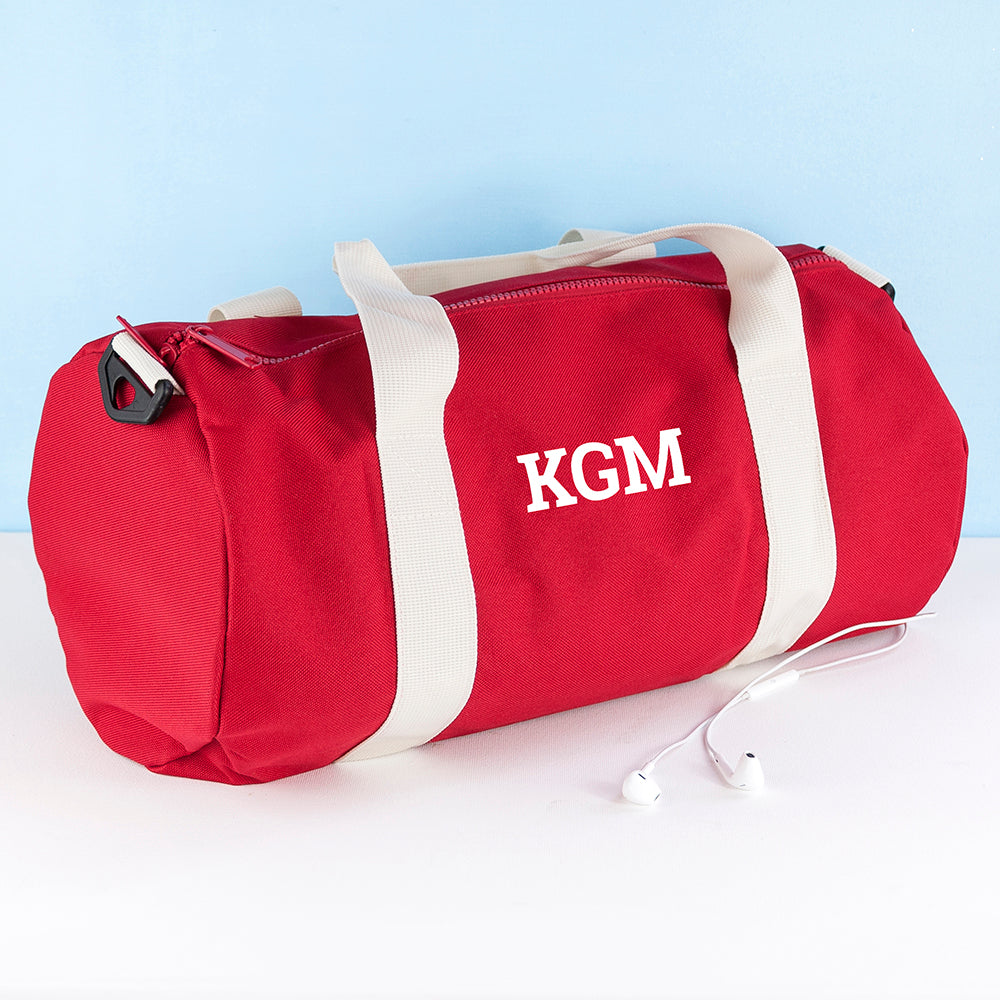 Monogrammed Barrel Gym Bag in Red