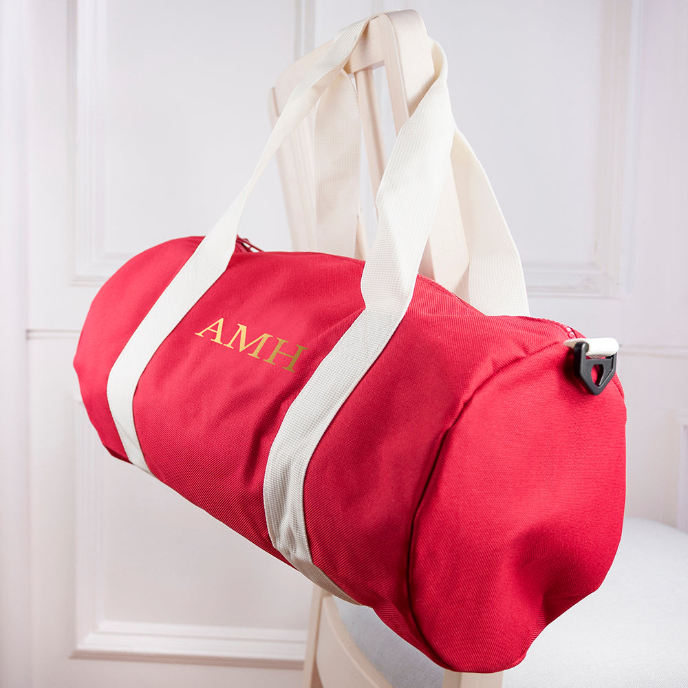 Monogrammed Barrel Gym Bag in Red - treat-republic