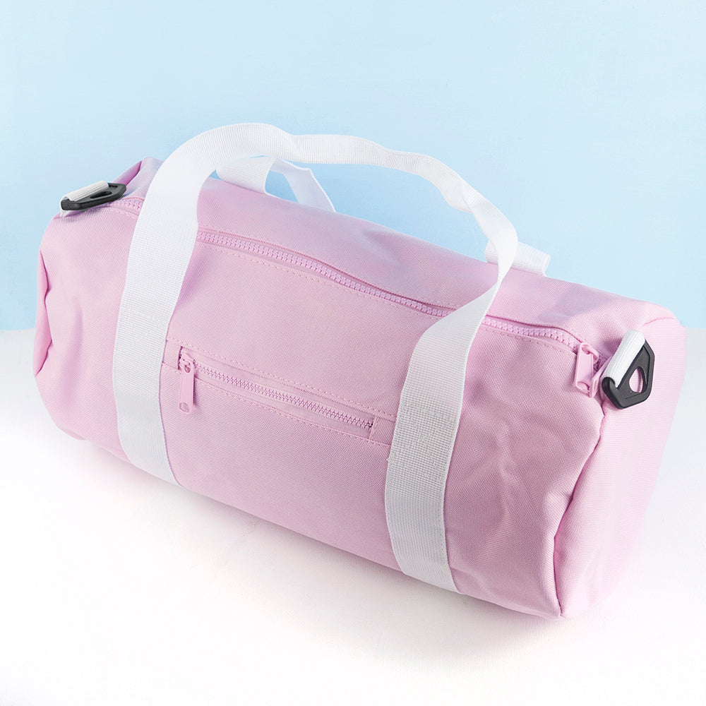 Monogrammed Barrel Gym Bag in Pink - treat-republic