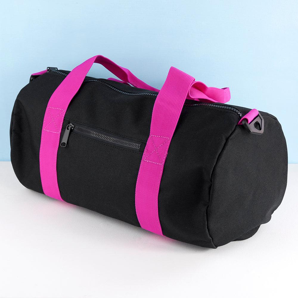 Monogrammed Barrel Gym Bag in Black & Fuchsia