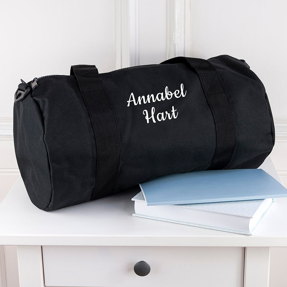 Personalised Kids Black Gym Kit Bag