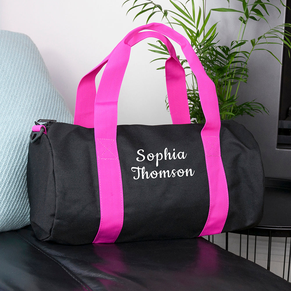 Personalised Kids Black & Fuschia Gym Kit Bag
