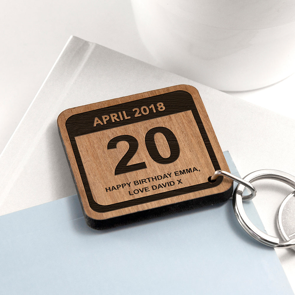 Personalised Special Calendar Day Square Keyring - treat-republic