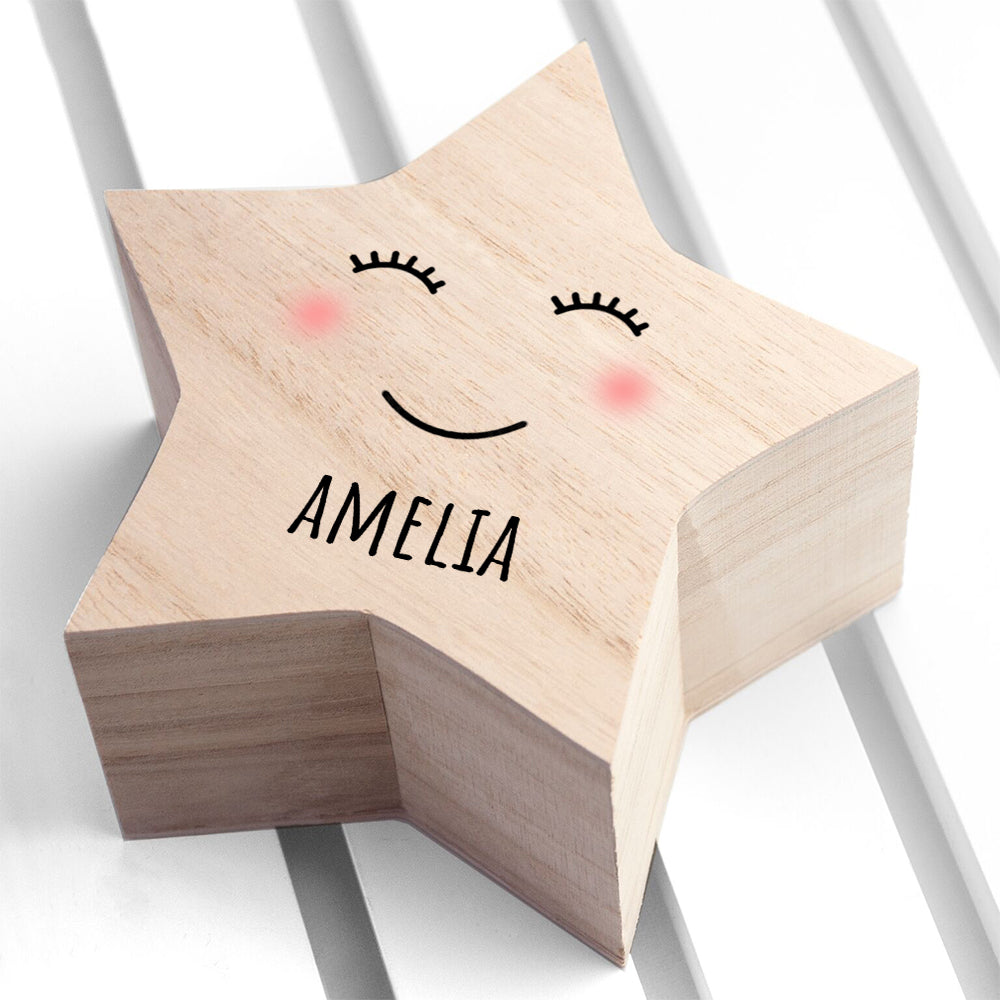 Personalised Smiling Star Trinket Box