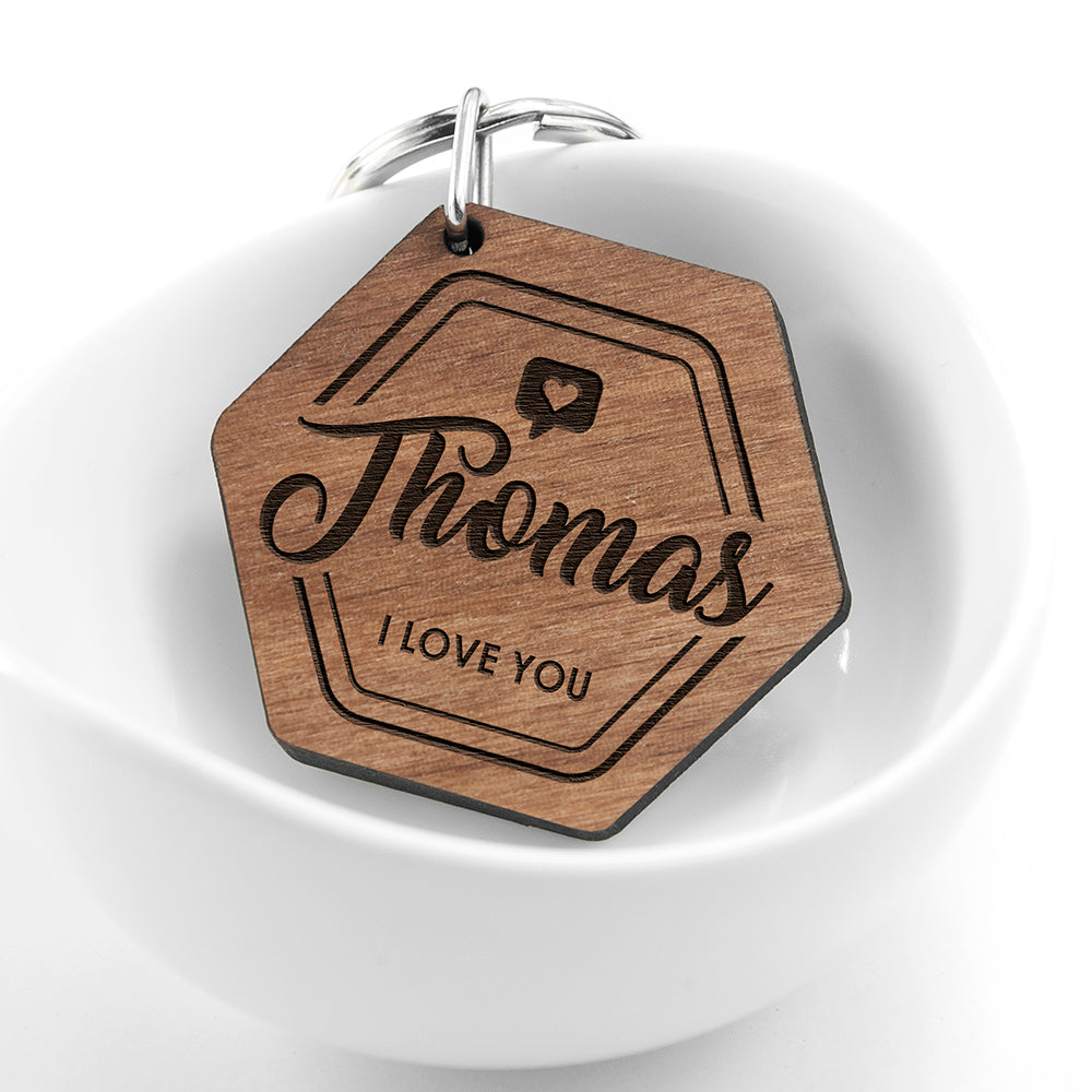 Personalised 'I Love You' Engraved Keyring - treat-republic