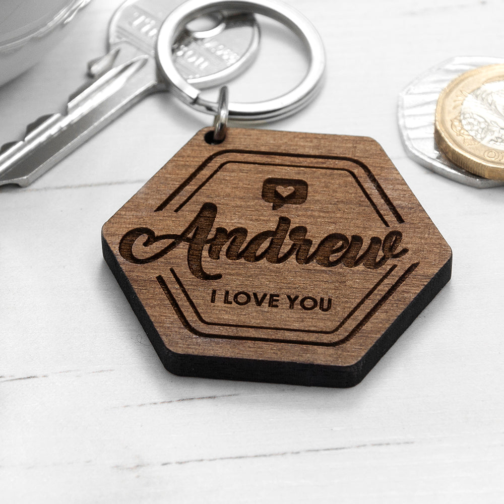 Personalised 'I Love You' Engraved Keyring