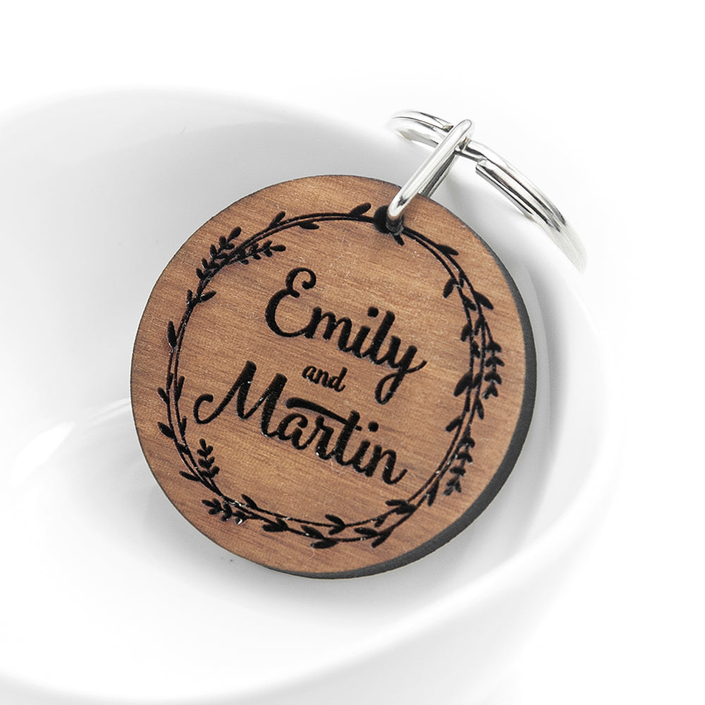Personalised Romantic Wreath Engraved Keyring - treat-republic