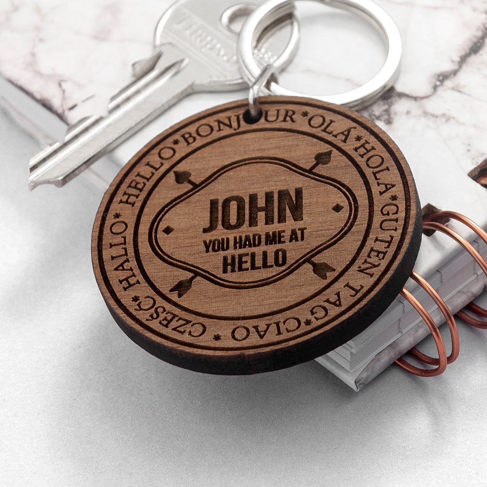 Personalised I Had You In Every Language Keyring