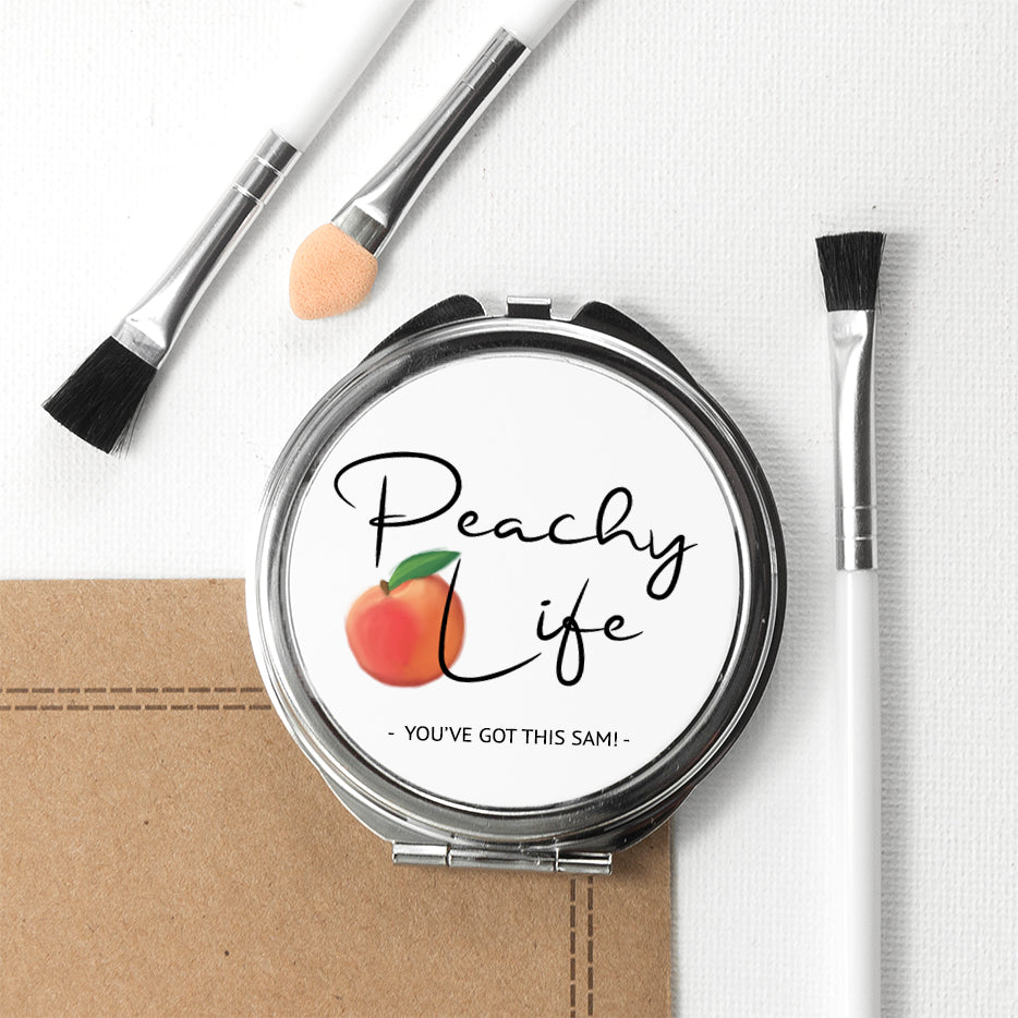 Peachy Life Round Compact Mirror - treat-republic