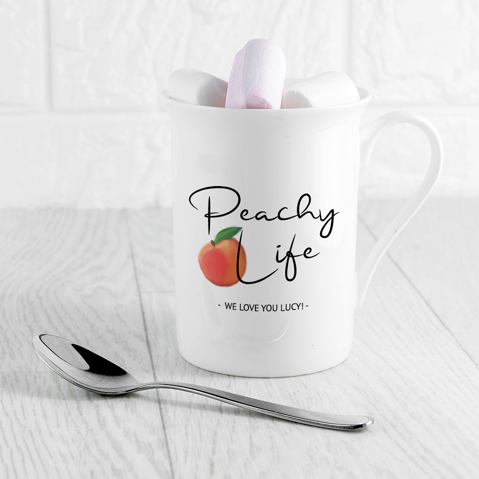 Peachy Life Bone China Mug - treat-republic