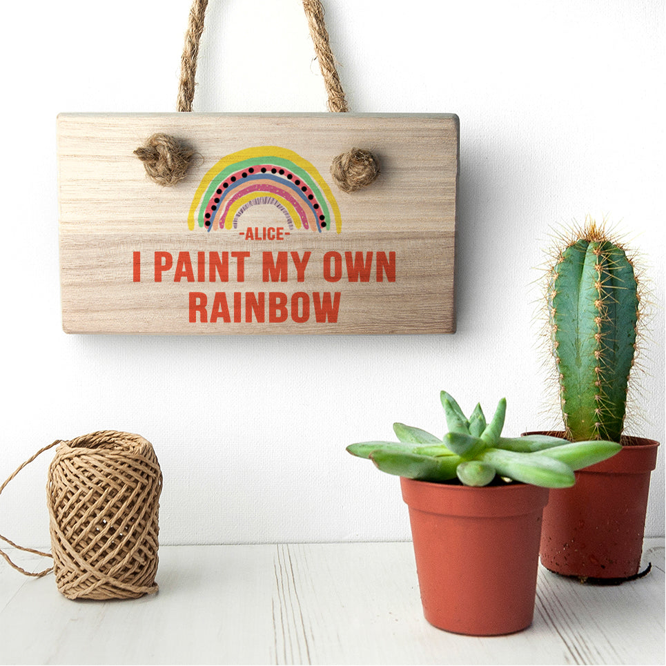 My Own Rainbow Wooden Hanging Sign - treat-republic