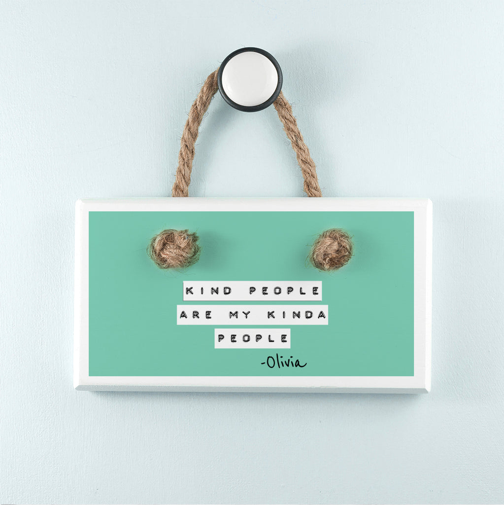Kind People (Green) White Hanging Sign - treat-republic