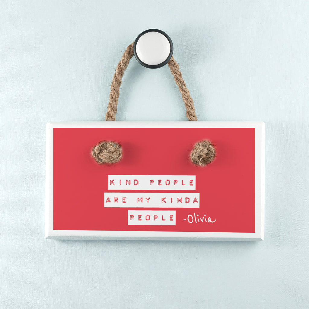 Kind People (Red) White Hanging Sign - treat-republic