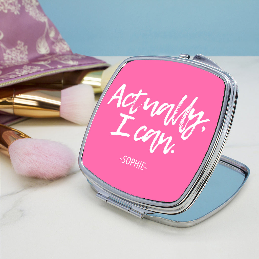 Actually I Can Handwritten Square Compact Mirror - treat-republic