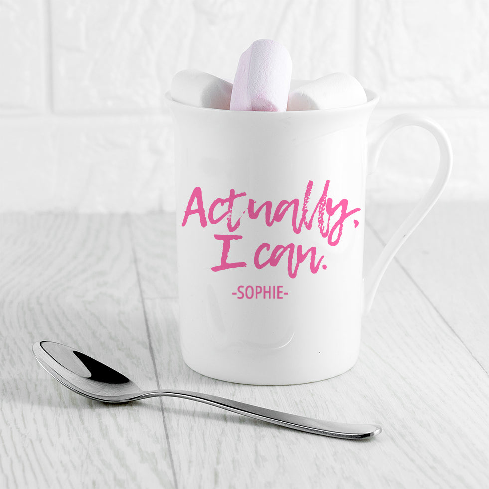 Actually I Can Handwritten Bone China Mug - treat-republic