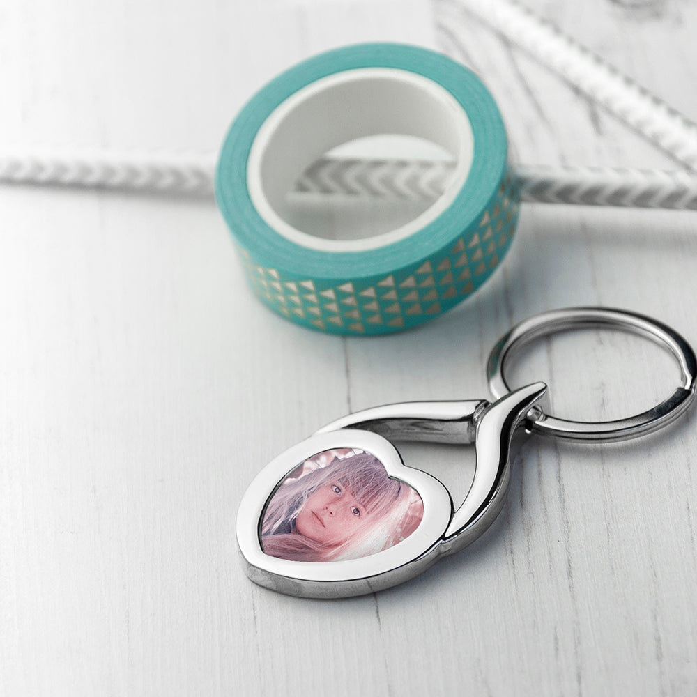 Personalised Heart Photo Key Ring - treat-republic