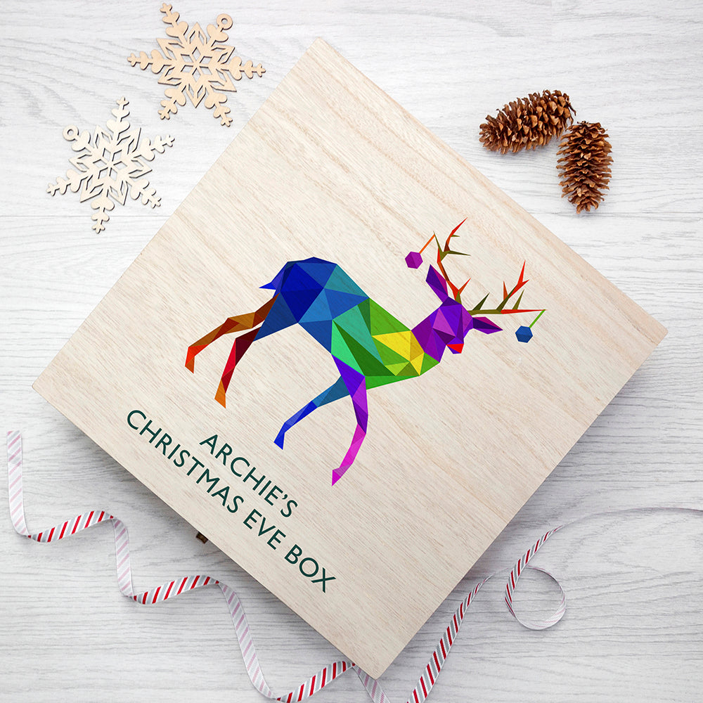 Personalised Geometric Reindeer Christmas Eve Box - treat-republic