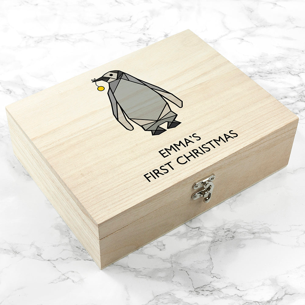 Personalised Baby Penguin First Christmas Box - treat-republic