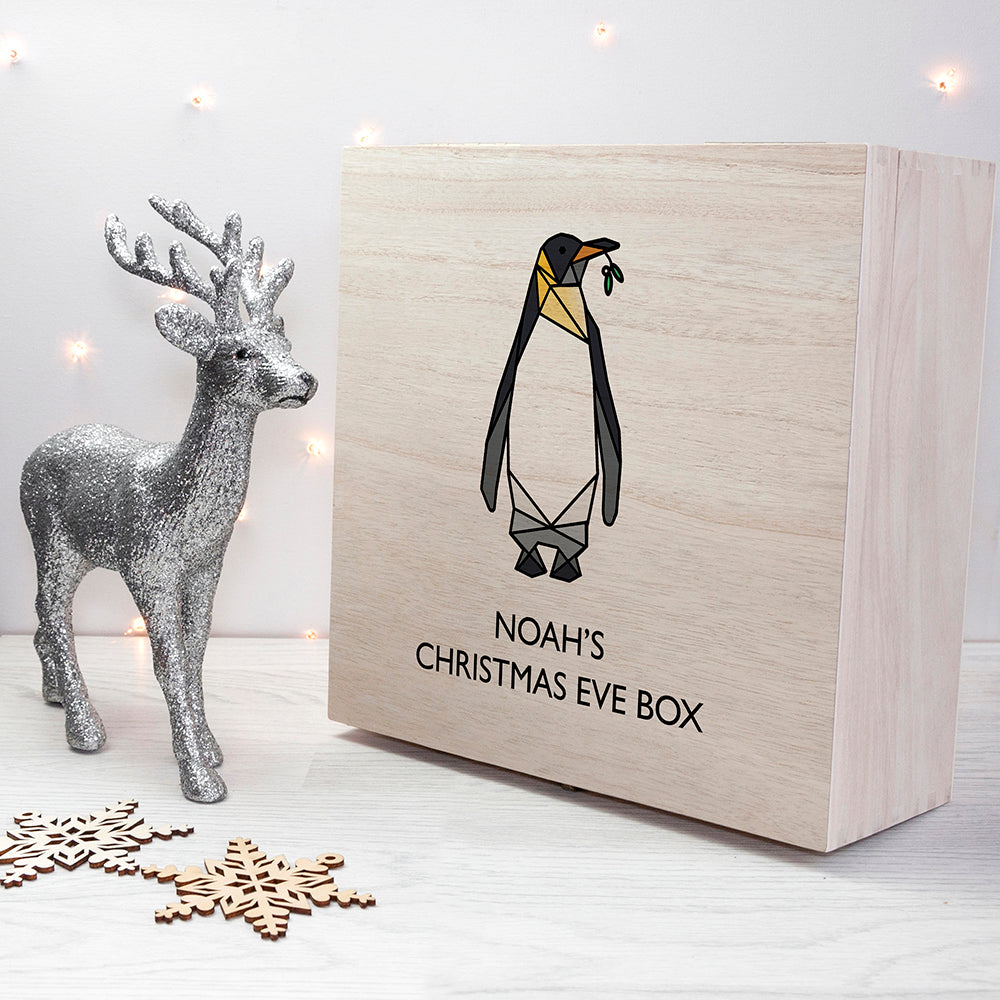 Personalised Geometric Penguin Christmas Eve Box - treat-republic